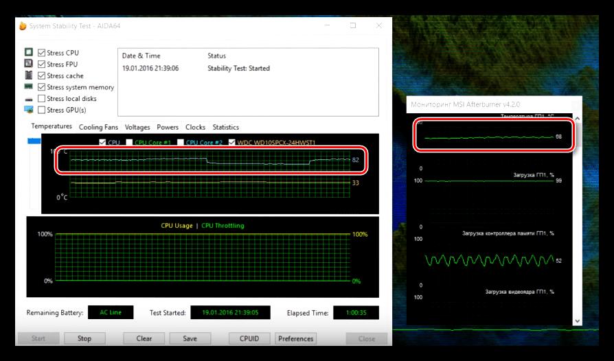 Температуры процессора и видеокарты ноутбука без охлаждающей подставки