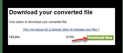 Загрузка преобразованного файла с серверов Zamazar
