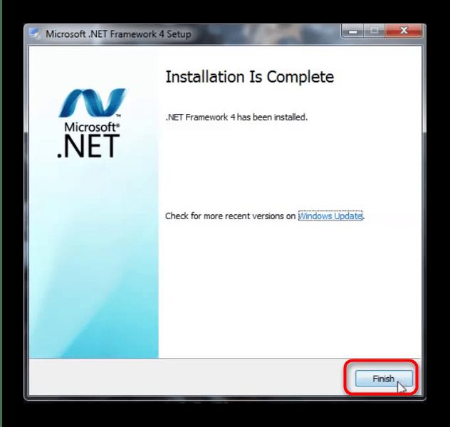 Завершение установки .Net Framework для исправления проблем с mscoree