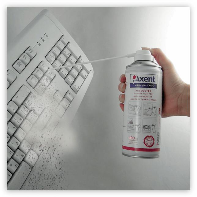 баллон со сжатым воздухом для чистки клавиатуры ноутбука и компьютера от пыли