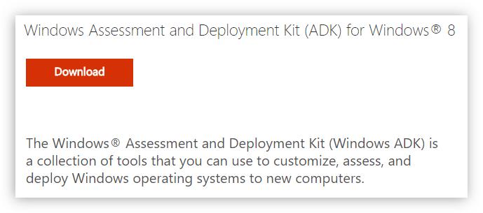 кнопка для загрузки пакета Windows Assessment and Deployment Kit на официальном сайте