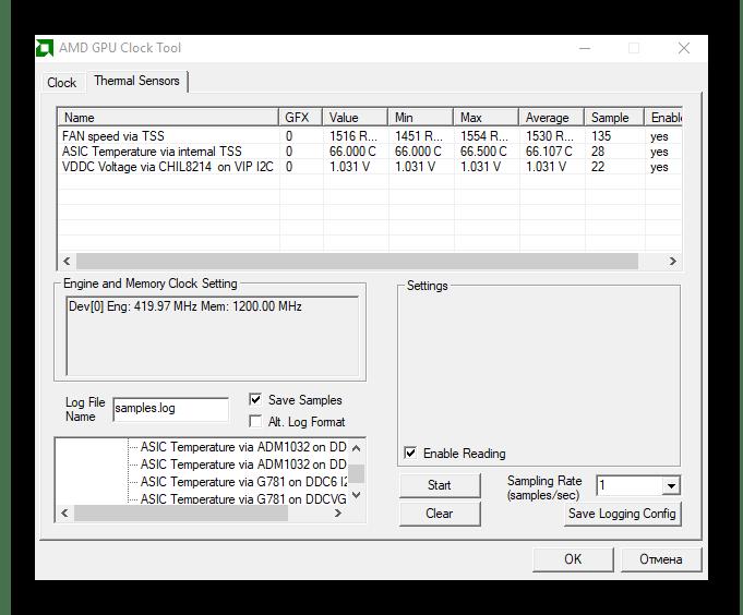 окно мониторинга параметров AMD GPU Clock Tool