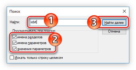 проведение поиска продуктов iobit в редакторе реестра windows