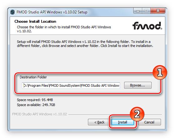 указание пути к папке в которую будет установлен пакет fmod studio api
