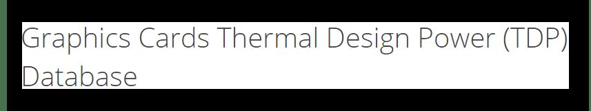 База данных со значениями показателей теплоотвода у видеокарт