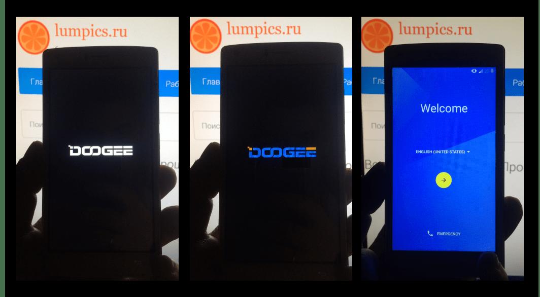 Doogee X5 MAX первая загрузка телефона после прошивки через ФлешТУл