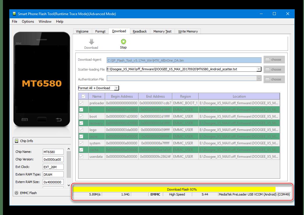 Doogee X5 MAX процесс раскирпичивания через SP Flash Tool