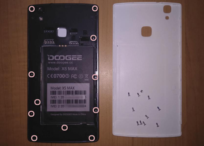 Doogee X5 MAX расположение винтов, закрепляющих заднюю панель
