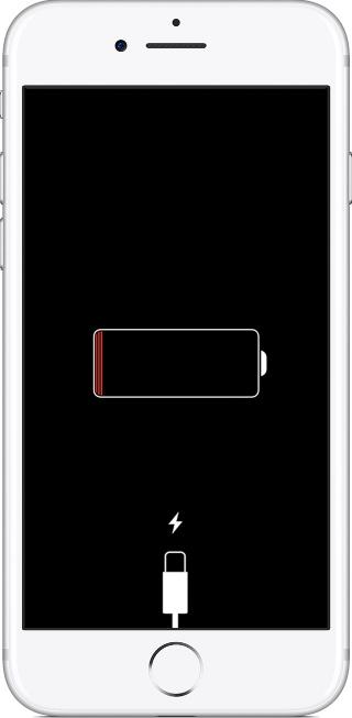Экран iPhone при отсутствии зарядки