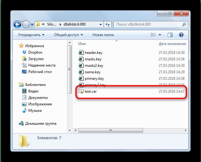 Файл сертификата на флешке для установки в КриптоПро