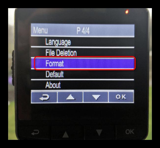 Форматирование карты памяти средствами видеорегистратора