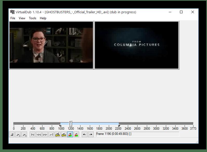 Главное окно VirtualDub