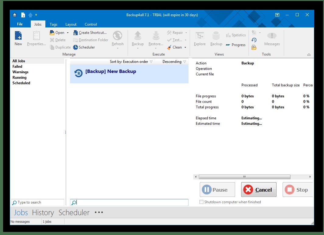 Главное окно программы Backup4all