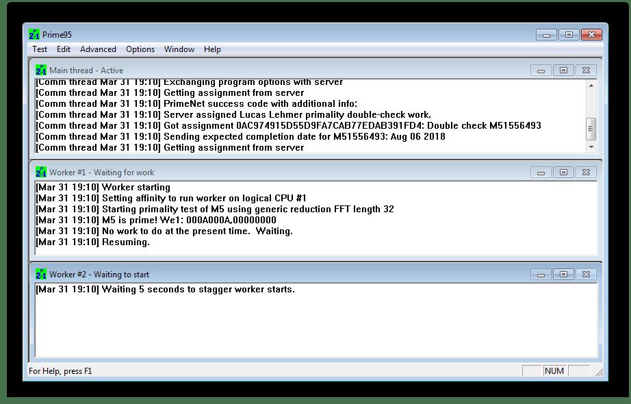 Главное окно программы Prime95