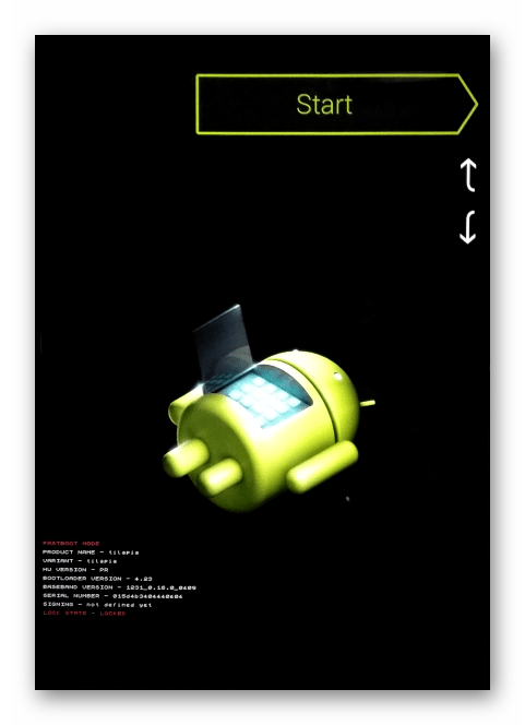 Google Nexus 7 3G 2012 экран планшета в режиме FASTBOOT