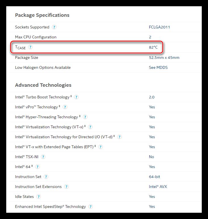 Информация о максимальной рабочей температуре процессора на официальном сайте Intel