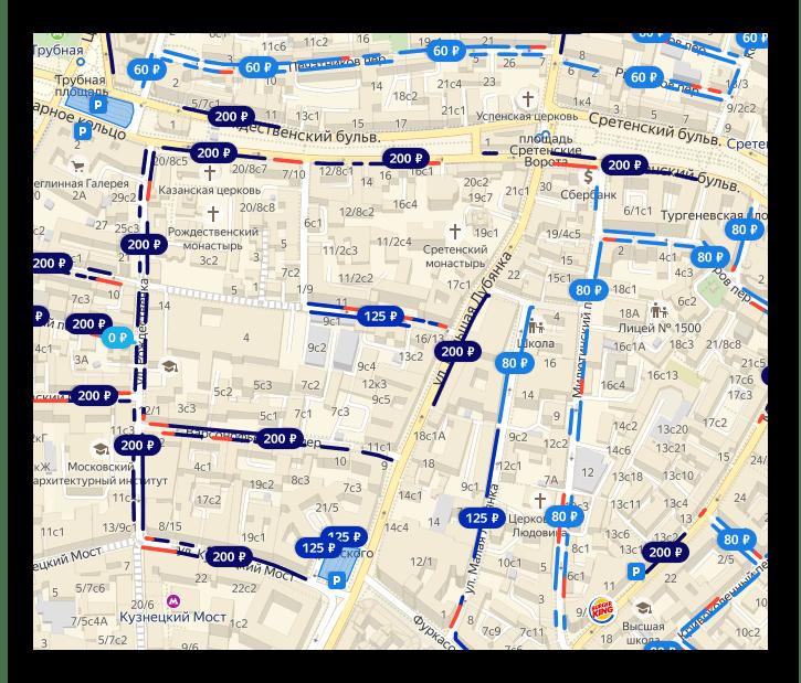 Карта с указанием парковок и их стоимости
