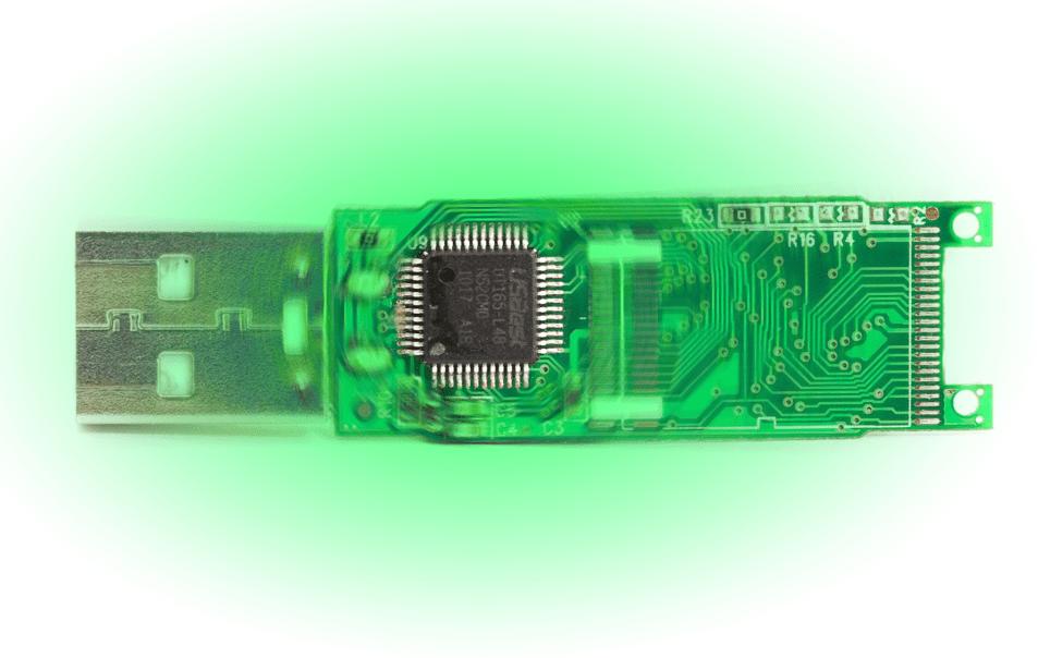 Микроонтроллер флешки на печатной плате