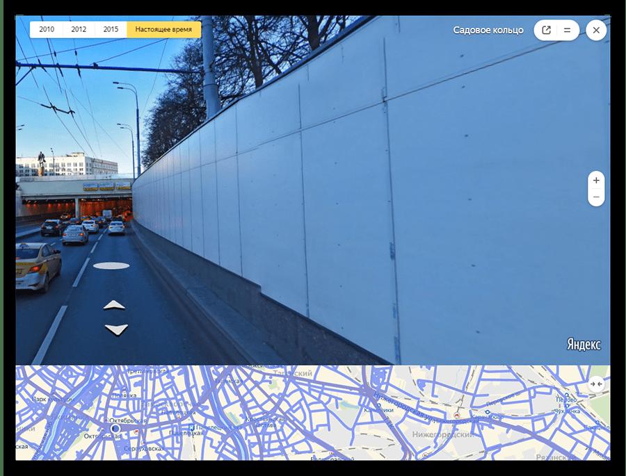 Окно панорамной прогулки в Яндекс.Картах