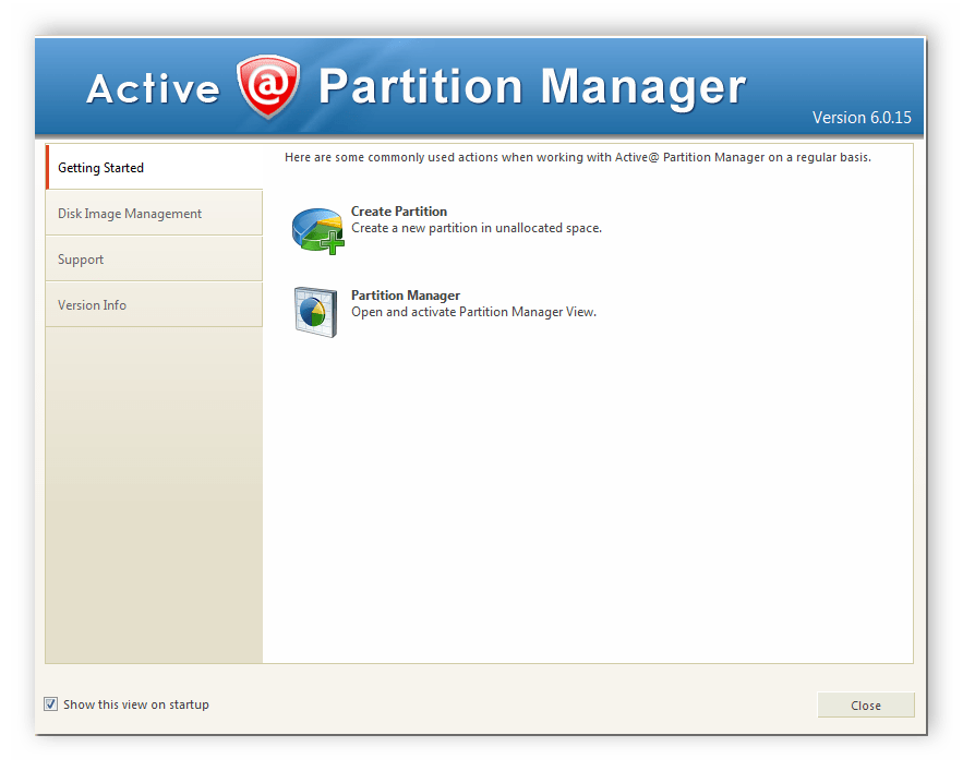 Окно приветствия Active Partition Manager
