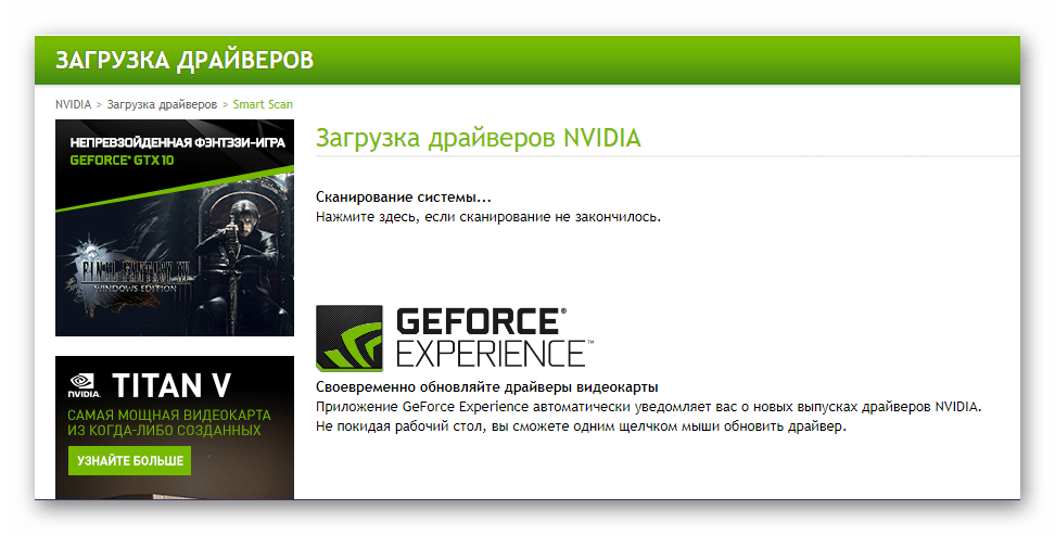 Онлайн-сканирование системы NVIDIA