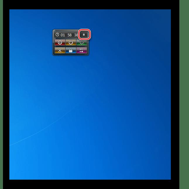 Остановка таймера отключения компьютера в гаджете System Shutdown в Windows 7