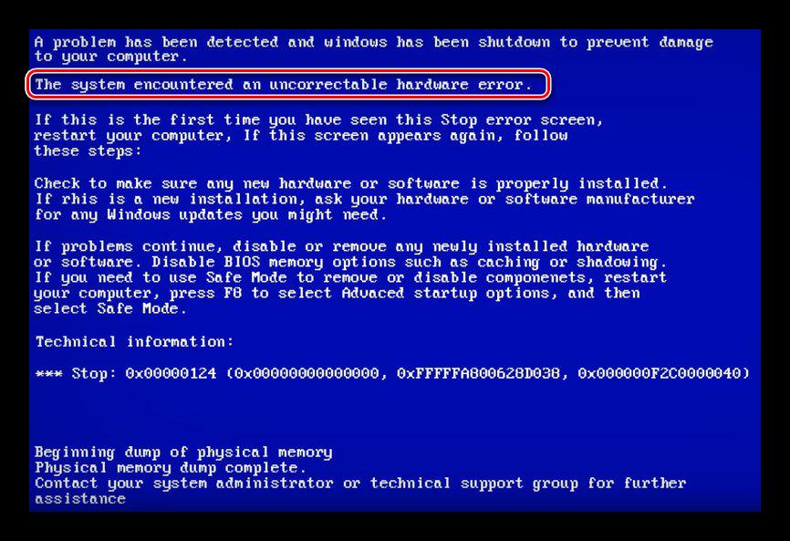 Отображение проблем с аппаратным обеспечением на синем экране смерти