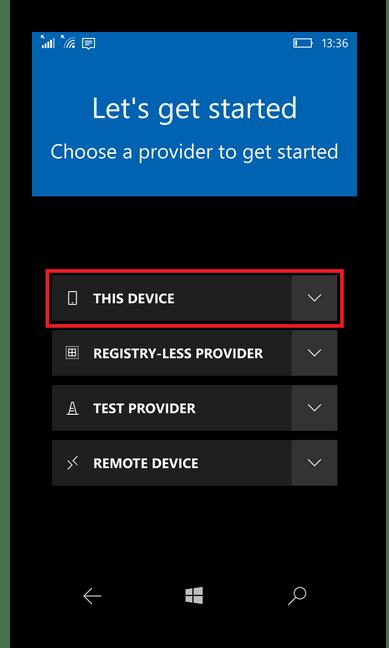 Переход к настройка девайса в приложении Interop Tools для Windows Phone