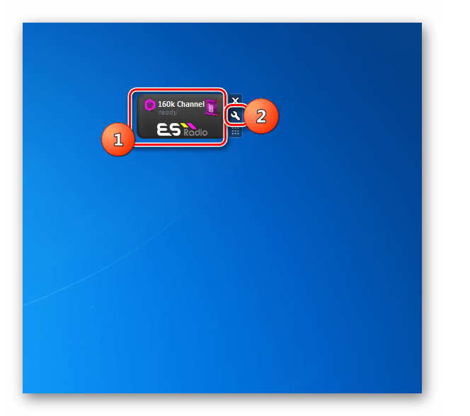 Переход в настройки гаджета ES-Radio на Рабочем столе в Windows 7