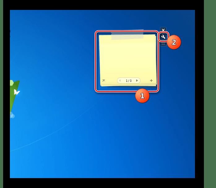 Переход в окошко настроек гаджета стикеров Chameleon Notescolour на Рабочем столе в Windows 7