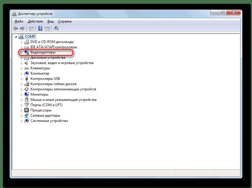 Переход в раздел Видеоадаптеры в Диспетчере устройств в Windows 7