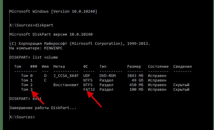 Поиск скрытого системного тома с помощью командной строки операционной системы Виндовс 10