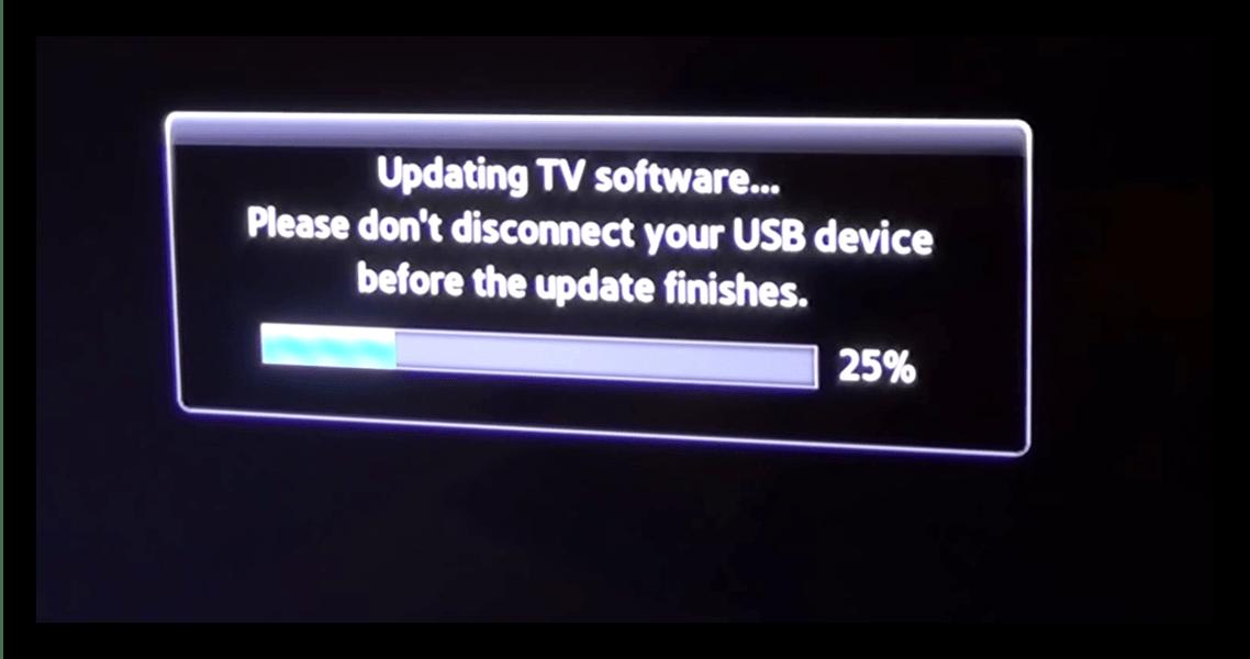 Процесс обновления с флешки телевизора Samsung