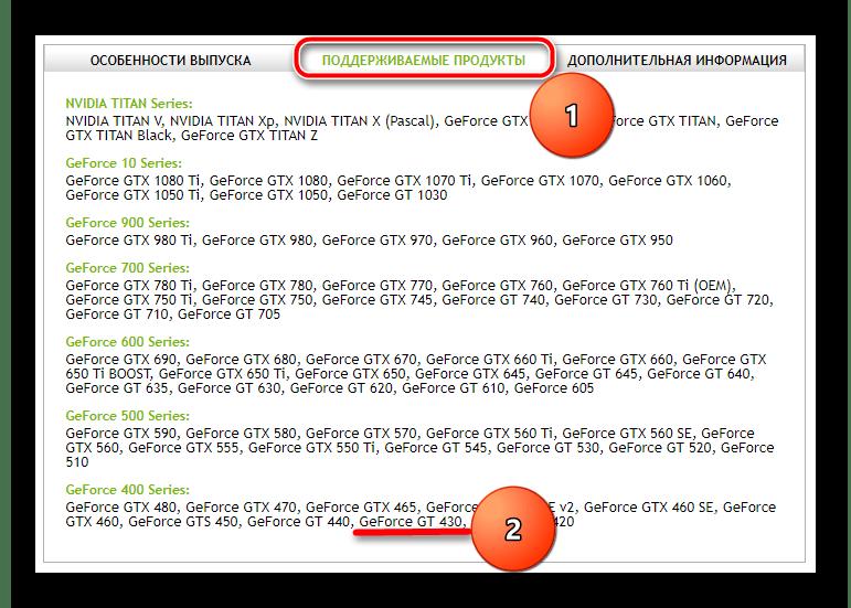 Проверка совместимости устройства и драйвера для NVIDIA GeForce GT 430
