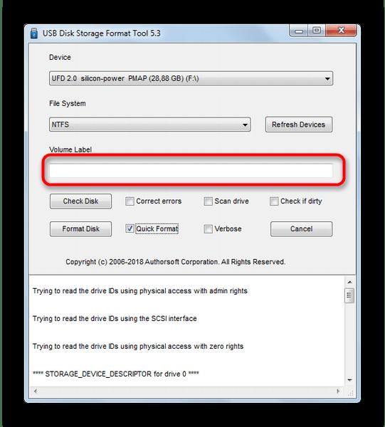 Пункт смены имени флешки в USB Disk Storage Format Tool 5-3