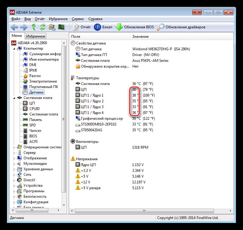 Различия в значениях температуры на крышке и ядрах процессора в программе AIDA64