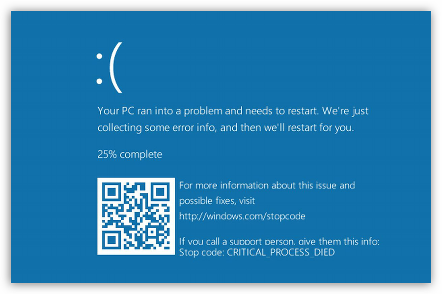 Синий экран смерти в Windows 10