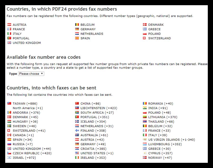 Список направлений отправки факсов на сервисе PDF24 Creator