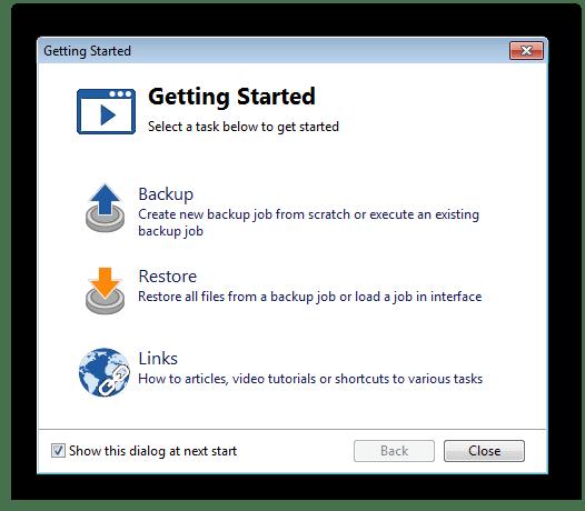 Стартовое окно программы Backup4all