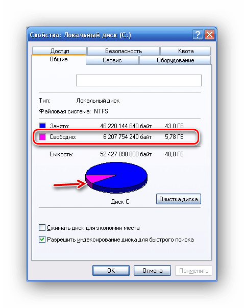 Сведения о свободном месте на системном разделе в Windows XP
