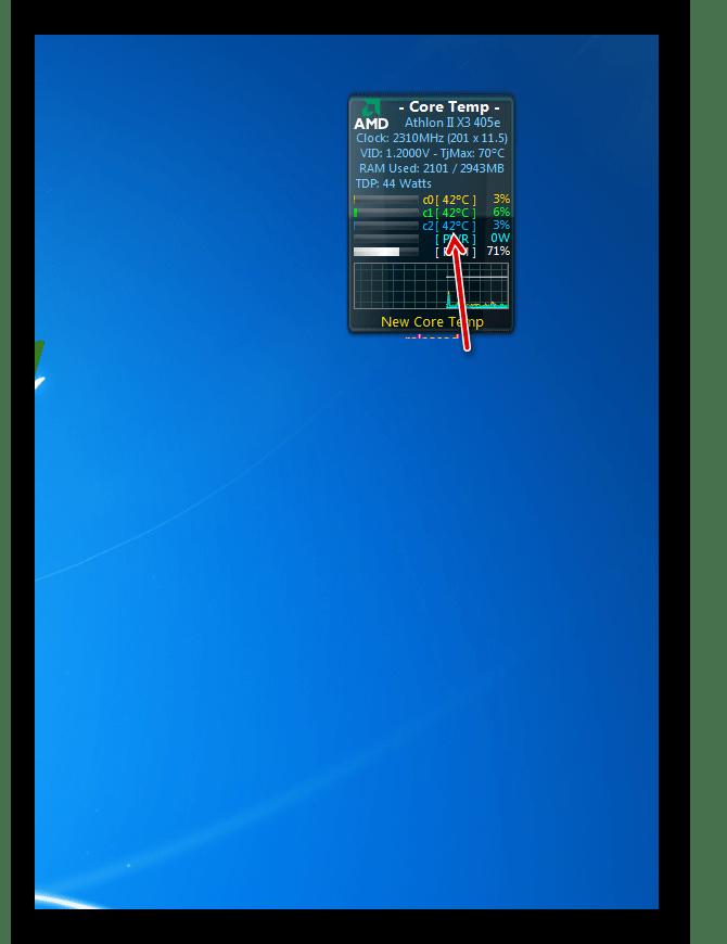 Температура ядер процессора в интерфейсе гаджета CoreTemp в Windows 7