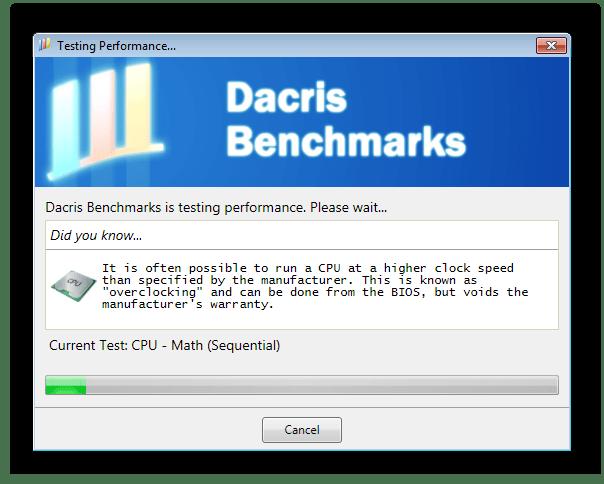 Тестирование процессора Dacris Benchmarks
