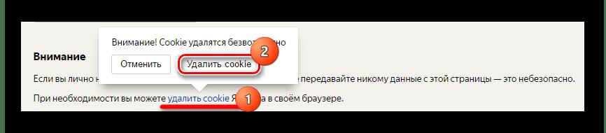 Удаление файлов cookie на странице Яндекс.Интернетометра