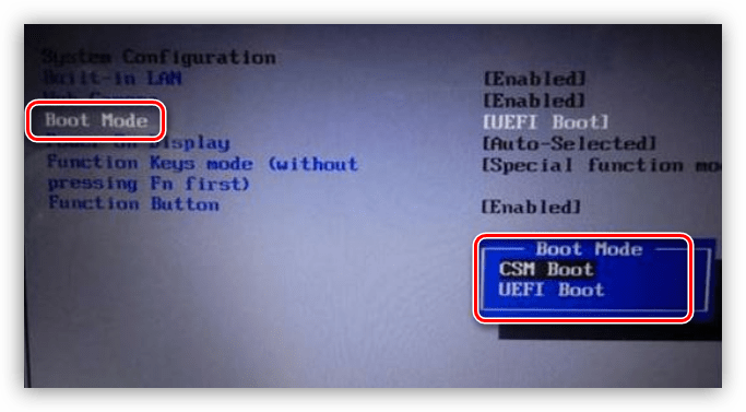 Включение режима UEFI в БИОС компьютера