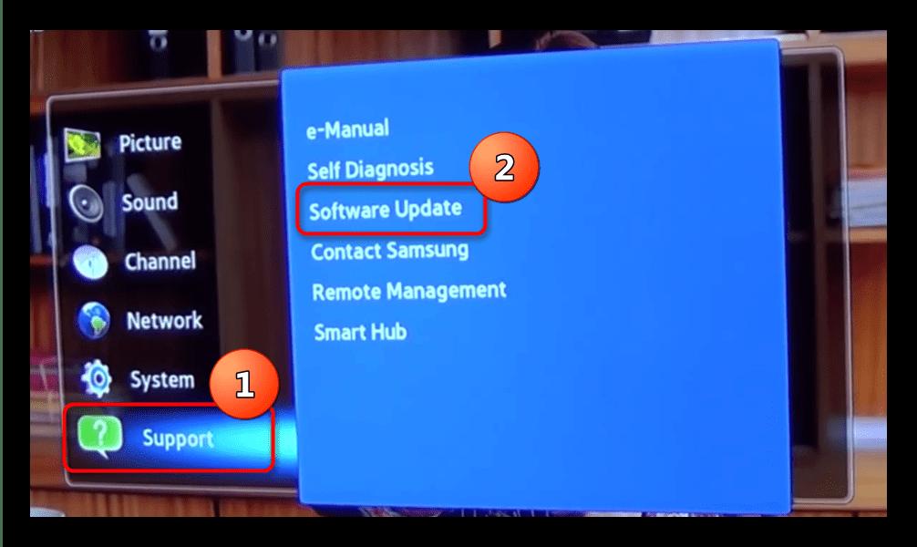 Войти в меню - поддержка телевизора Samsung для обновления с флешки