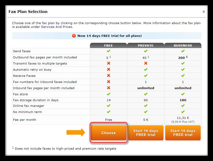 Выбор бесплатного пакета услуг при отправке факса с помощью сервиса PDF24 Creator