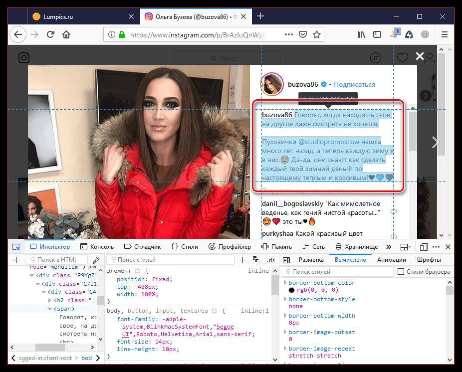 Выбор описания через панель разработчика в браузере