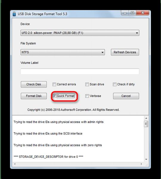 Выбрать быстрое форматирование флешки в USB Disk Storage Format Tool 5-3