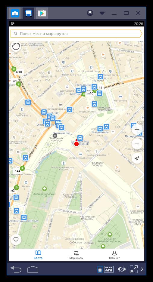 Запущенное приложение Яндекс.Транспорт в программе BlueStacks