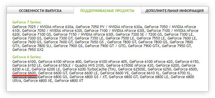 поддерживаемые продукты предложенного драйвера для загрузки на сайте nvidia